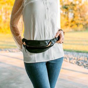 Handbags - Black Gold Zip Bum Bag Fanny Pack